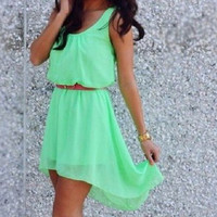 Light Green Sleeveless Chiffon Dress