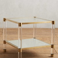 Oscarine Lucite Mirrored Side Table