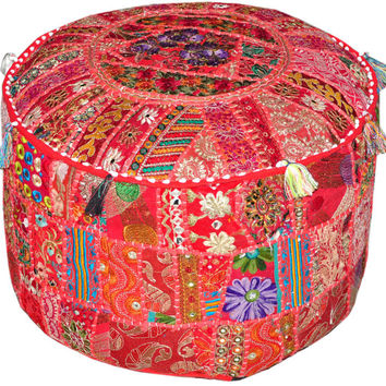 Pretty Indian Pouf in Red/Burgundy Stool Vintage Patchwork Living Room Ottoman Cover Hassock bench furniture pouffe footstool chair bean bag