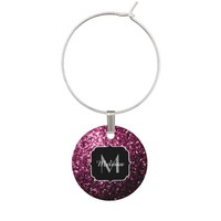 Beautiful Pink glitter sparkles Monogram wine charm by PLdesign