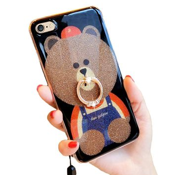 iPhone 6 Plus Glitter Case, 3D Teddy Bear Brown iPhone 6s Plus Bling Cute Soft Silicone Rubber Protective Case for Girls Finger Ring Stand (Ring Bear 1)