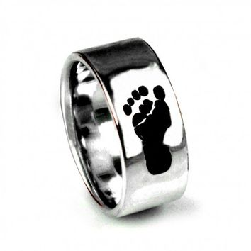 Custom Baby Footprint Ring - Jewelry - Gift - Mother's Day - New Moms - New Dads - Ring