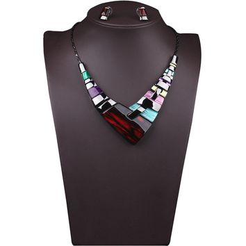 Colorful Crystal Bib Necklaces Statement Stud Earrings Set Women's Jewelry Set