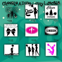 CHEERLEADING vinyl decals - 109-117 - cheerleader - cheer - pompoms - vinyl stickers - car decal - custom vinyl sticker