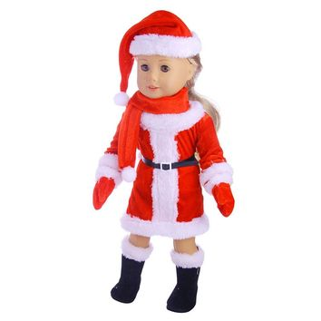 Christmas suits :Hat + scarf + clothes + gloves + boots doll clothes wear fit 18 inch American girl doll for baby gift