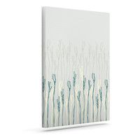"Emma Frances ""Dainty Shoots"" Gray Teal Outdoor Canvas Wall Art"