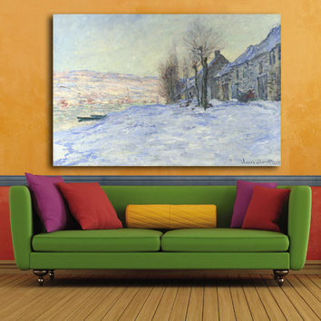 Beautiful Country Snow Landscape Canvas Prints Abstract Monet Oil Painting Impressionist Picture Printed On Canvas Unframed