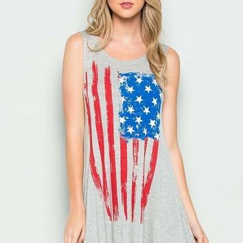I Love the Flag Tank Top in Heather Gray