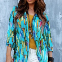 turquoise cactus kimono gussied up - Google Search