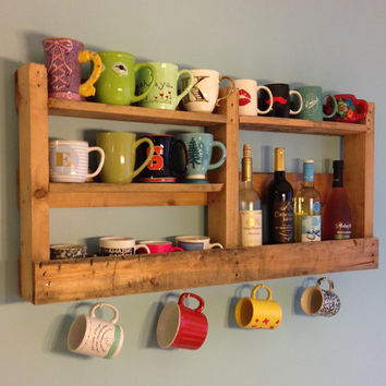 Coffee Mug Holder/Coffee Mug Shelf/Custom Made Pallet Coffee Holder/Coffee Station/Pallet Shelf