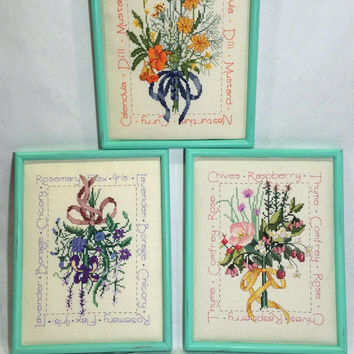 3 Shabby Chic Botanical Wall Decor Cross Stitch Cottage Chic Framed Needle Craft Floral