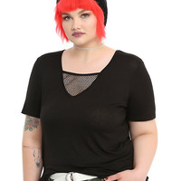 Black Fishnet Panel Girls Top Plus Size