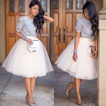 Puff Women Chiffon Tulle Skirt White Black faldas Vestido High waist  Chiffon plus size Female Tutu Tulle  Skirts