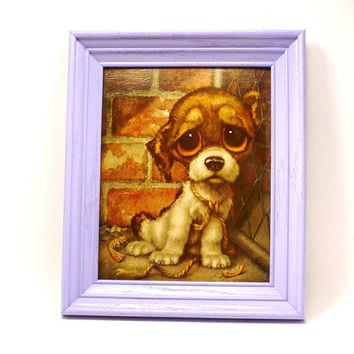 sad puppy kitschy wall art, framed print, big eyed, big eyes, upcycled frame, lilac, lavender, vintage art, dogs, wall decor, kitsch, retro
