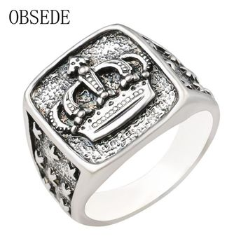 OBSEDE Punk New Arrival Silver Color Crown Signet Ring Men Carved Star Vintage Ring Male Jewelry Cool Unique Gift Drop Shipping