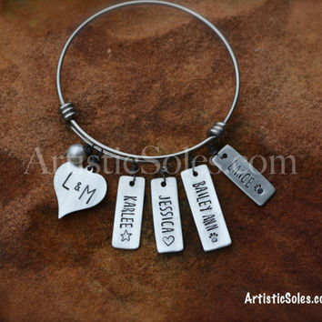 Family Charm Bangle Bracelet - Custom Stamped