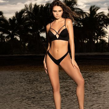 Underwire Two Piece Black Bikini