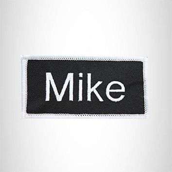 Mike White on Black Iron on Name Tag Patch for Biker Vest NB179