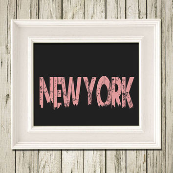 New York Skyline City Name Print Poster Customizable with Your City Home Decor Wall Art SK009