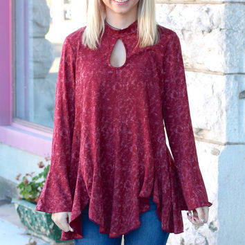 Acid Wash Keyhole + Peplum Flare Top {Burgundy}