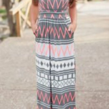 Multi Color Strapless Zigzag Sleeveless Dress