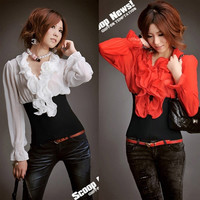 New 2014 Women Blouses Ruffled Collar Long Sleeve Rib Vintage Chiffon Blouse Casual Ladies Shirt Top Blusas = 1946857028