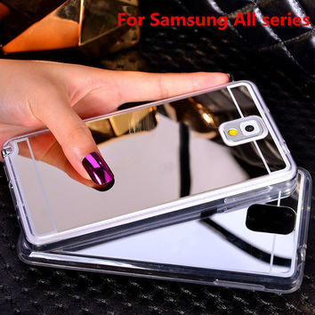 Plating Mirror Soft TPU Back Case Cover For Samsung Galaxy Note3/4/5 A5 A7 A8 J5 J7 2016 S3 S4 S5 S6 S7 Edge Plus Phone Case