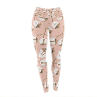 """Very Sarie """"Hope for the Flowers III"""" Pink White Yoga Leggings"""