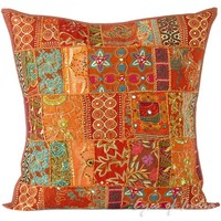 """24"""" Brown Cushion Pillow Throw Cover with Patchwork Embroidered"""