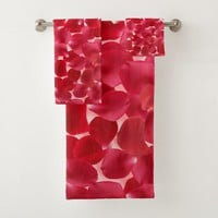 Beautiful Red Roses Petals Towel Set