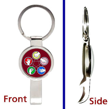 The Big Bang Theory Rock Paper Scissors Lizard Spock Pendant or Keychain silver tone secret bottle opener
