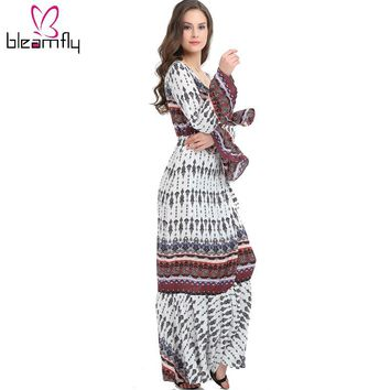 Summer Beach Dress Bohemian Long Maxi Dresses For Women Sexy Party V-Neck Long Sleeve Printed Slip