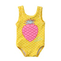 2018 Baby Girl Pineapple Swimsuit Bathing Suit Swimwear Beachwear Sports Yellow One-Piece for Kids Baby Girl Clothes