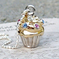 Sterling Silver Blinged Out Cupcake Necklace