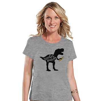 Teacher Shirt - Teachersaurus Dinosaur Shirt - Teacher Gift - Teacher Appreciation Gift - Teacher Appreciation - Funny Dino - Grey Tshirt