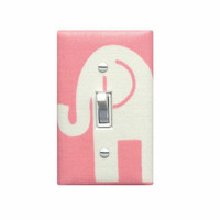 Elephant Nursery Decor / Pink and White Light Switch Plate / Baby Girl Wall Lighting / Ele Premier Prints