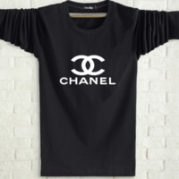 CHANEL Spring and autumn new fashion men and women letter print long sleeve tops Black