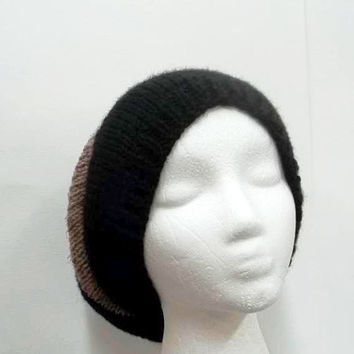 Slouchy beanie hat black and tan oversized beanie hand knitted  5218
