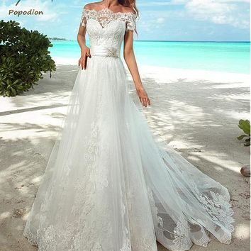 Wedding Gowns Beach Mermaid Wedding Dresses Elegant Lace Off-the-shoulder 2 in 1 Wedding Dresses WED90294