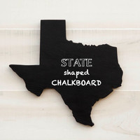 Texas state shape sign wood cutout wall art Chalkboard Message Board. Home organizer. Wedding College Dorm Country Cottage Chic Decor