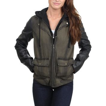 Kenneth Cole Reaction Women's Faded Denim Mixed Media Hooded Bib Jacket