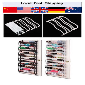 36 Pair 12 Tier Over Door Hanging Shoe Rack Zapatero Shelf Organiser Storage Stand Metal Shoe Rack Shelf Storage White