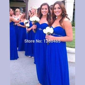 2016 Long Royal Blue Bridesmaid Dresses Cheap Prom Dress High Waist for Pregnant Maternity Women
