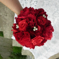 Lace and Pearl Wedding Bouquet, Vintage, Red, Yellow, Ivory, Package, Party Romantic, Bridesmaid, Fabric Flower Bouquet, weddings, Vintage