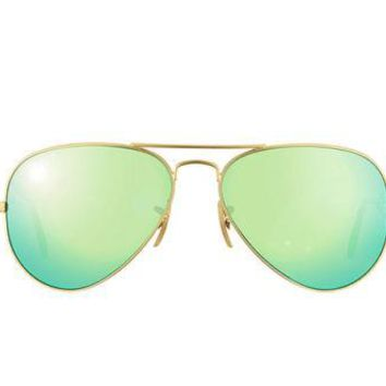 New Authentic Ray-Ban Aviator Sunglasses RB 3025 112/P9 58mm Gold Green Mirror