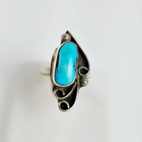Native American Tourquoise Ring - Vintage Turquoise Ring Size 5 - Mid Century Navajo Sterling Ring - Blue Gem Turquoise Ring