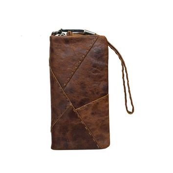 Original handmade wallet retro first layer of leather clever long paragraph zipper female men hand bag