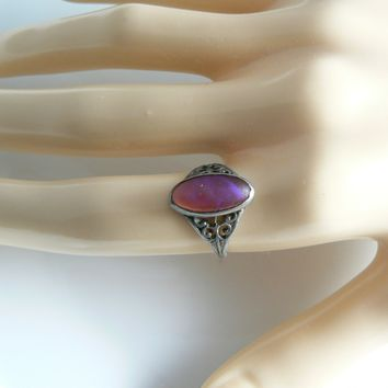 Antique Art Nouveau Sterling Silver Dragons Breath Filigree Ring