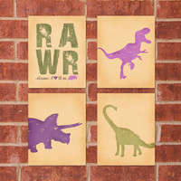Dinosaur Print  8x10  RAWR Girl Bundle  Buy by DesignsByAmandaLee