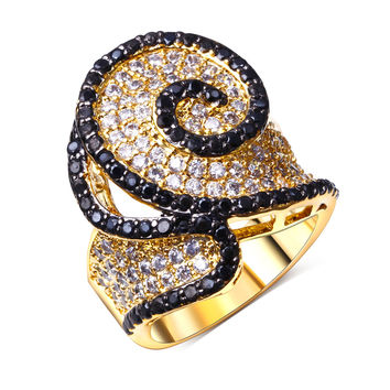 Designer Ring gold plated Cubic zirconia black and white CZ Rings cheap ring best friend new fashion jewelry Free shipping